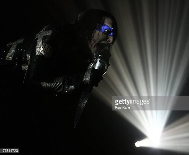 Marilyn Manson performs during the Perth leg of the Australian tour for his recently released sixth album Eat me drink me at Challenge Stadium on...