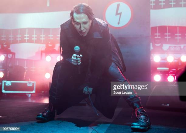 Marilyn Manson performs during the Twins Of Evil The Second Coming Tour Opener at DTE Energy Music Theater on July 11 2018 in Clarkston Michigan