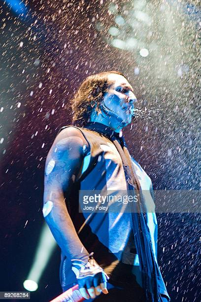 Marilyn Manson performs in concert at the Rockstar Energy Drink Mayhem Festival at Verizon Wireless Music Center on July 25 2009 in Noblesville...