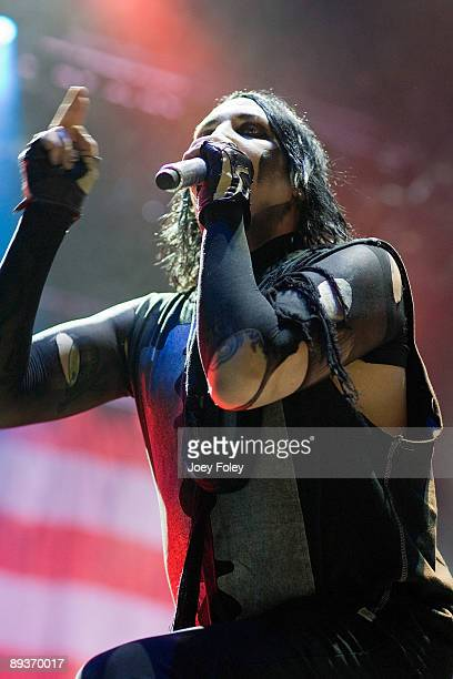 Marilyn Manson performs in concert at the Rockstar Energy Drink Mayhem Festival at Verizon Wireless Music Center on July 25, 2009 in Noblesville,...
