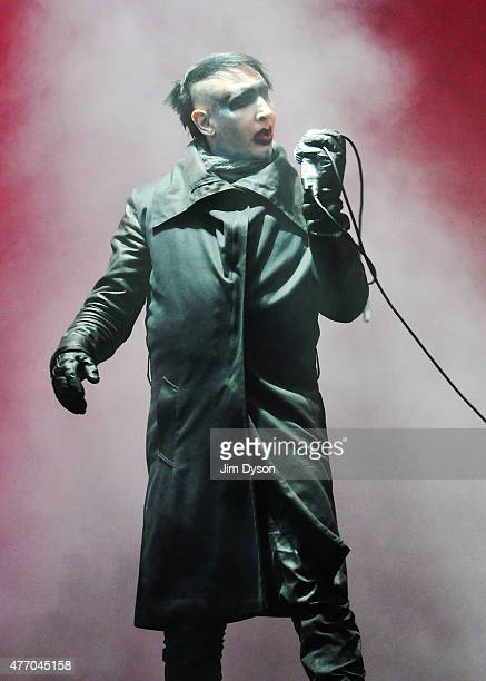 Marilyn Manson performs live on stage during Day 2 of the Download Festival at Donington Park on June 13 2015 in Castle Donington England