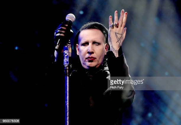 Marilyn Manson performs onstage during the 2018 Coachella Valley Music And Arts Festival at the Empire Polo Field on April 21 2018 in Indio California