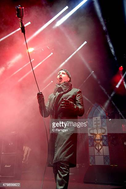 """Marilyn Manson performs onstage during the """"The End Times Tour"""" opener at Concord Pavilion at Concord Pavilion on July 7, 2015 in Concord, California."""