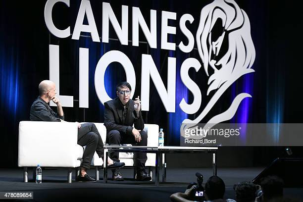 Marilyn Manson speaks at the Grey Group seminar during the Cannes Lions International Festival of Creativity on June 22 2015 in Cannes France
