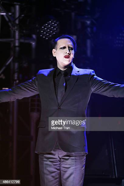 Marilyn Manson speaks onstage during the 6th Annual Revolver Golden Gods Award Show held at Club Nokia on April 23 2014 in Los Angeles California