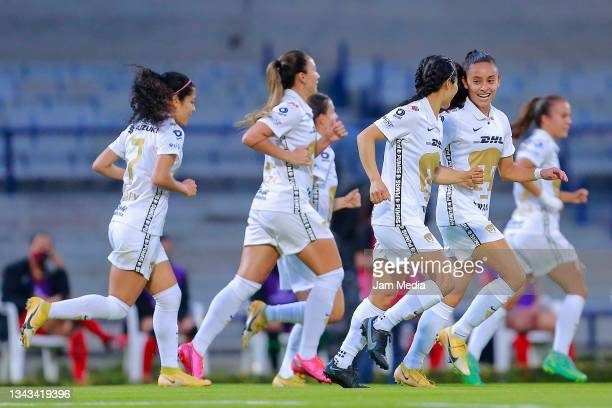 Marilyn Margoth Campa of Pumas celebrates with teammates after scoring the first goal of her team during a match between Pumas and Juarez as part of...