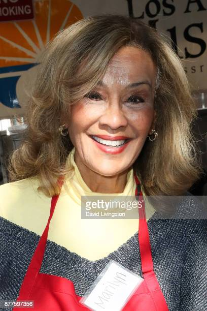 Marilyn McCoo is seen at the Los Angeles Mission Thanksgiving Meal for the homeless at the Los Angeles Mission on November 22 2017 in Los Angeles...