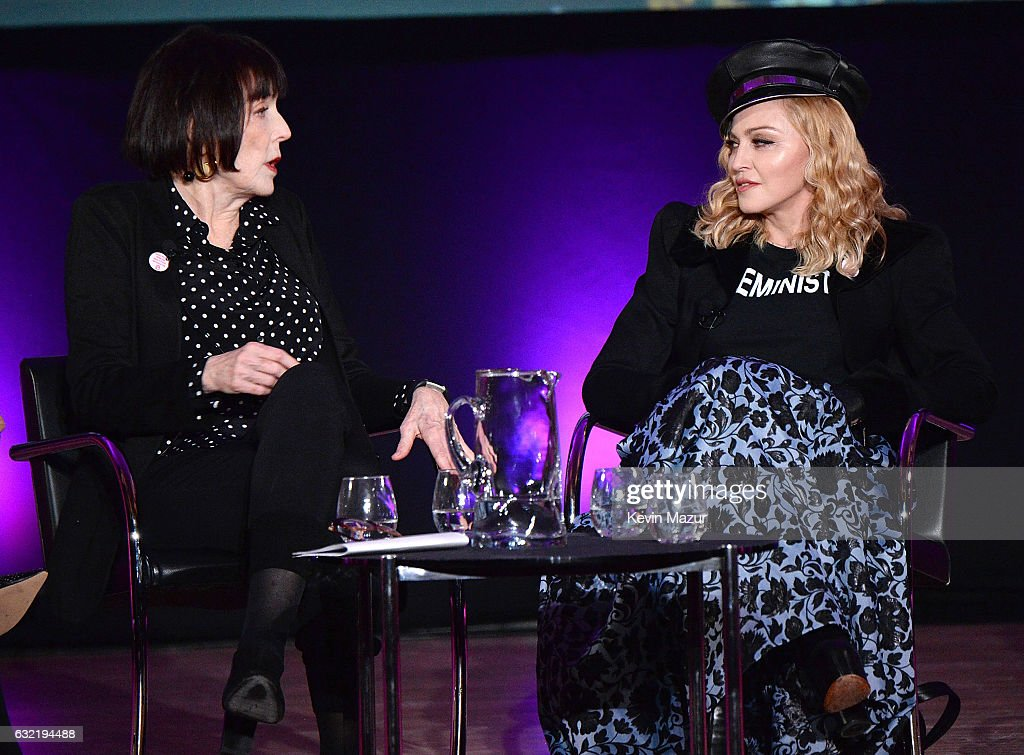 Marilyn Minter and Madonna speak on stage at Brooklyn Museum on January 19, 2017 in New York City.
