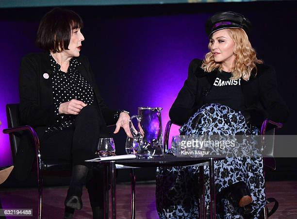Marilyn Minter and Madonna speak on stage at Brooklyn Museum on January 19 2017 in New York City