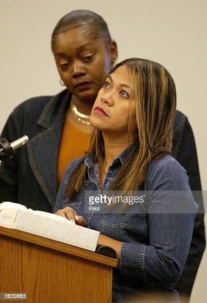 Marilyn Molina the sister of Green River Killer victim Marie Malvar speaks at the sentencing of Gary Ridgway in King County Washington Superior Court...