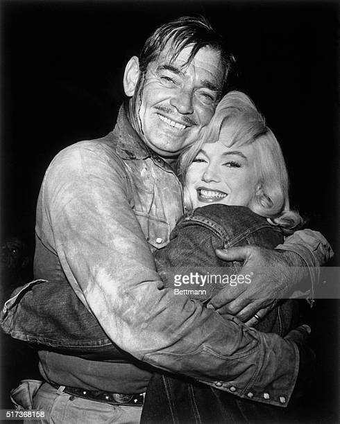 Marilyn Monroe and Clark Gable bid goodbye to each other as they completed filming of United Artists' The Misfits written by Marilyn's husband Arthur...