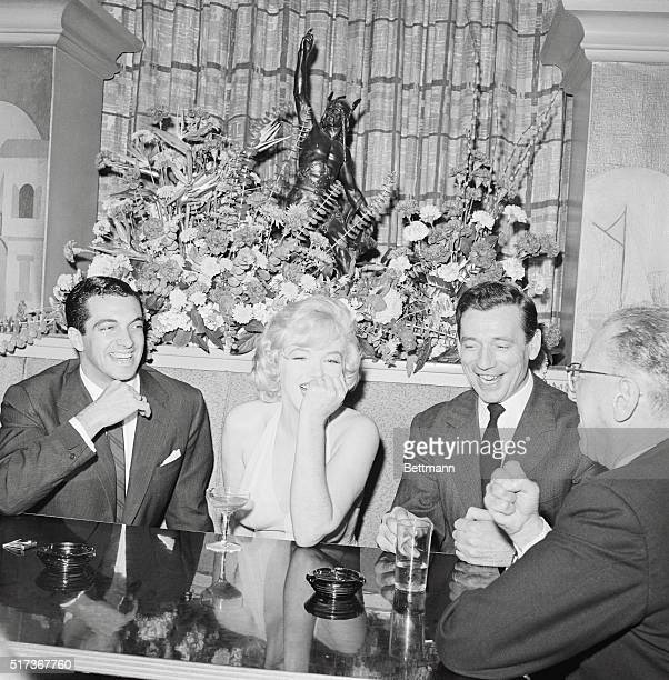 Marilyn Monroe and her two leading men British singer Frankie Vaughan and French entertainer Yves Montand who appear with the blonde actress in...
