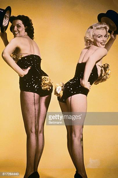 Marilyn Monroe and Jane Russell as they appeared together in Gentlemen Prefer Blondes.