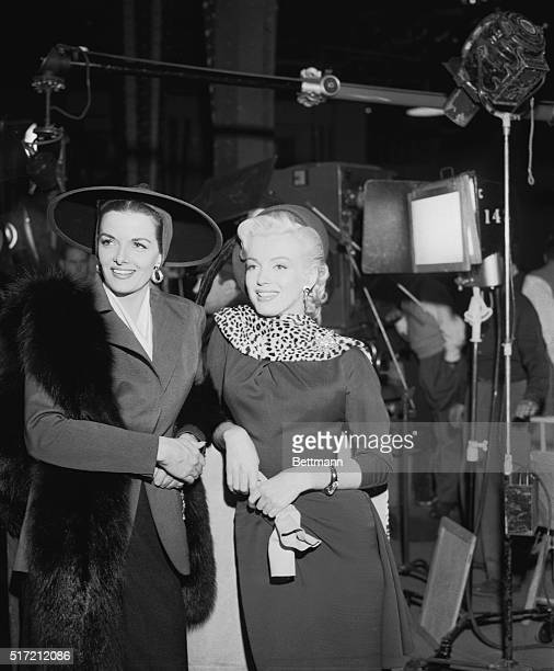 Marilyn Monroe and Jane Russell on the set of the 1953 motion picture Gentleman Prefer Blondes