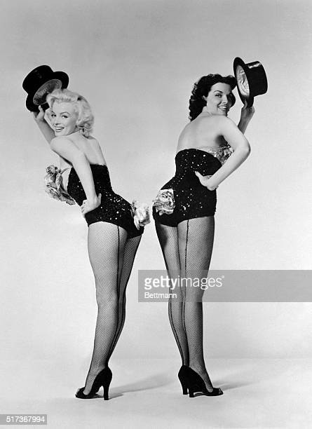 Marilyn Monroe and Jane Russell Standing Back to Back 'Gentlemen Prefer Blondes'