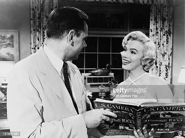 Marilyn Monroe and Tom Ewell in a scene from 'The Seven Year Itch' directed by Billy Wilder 1955