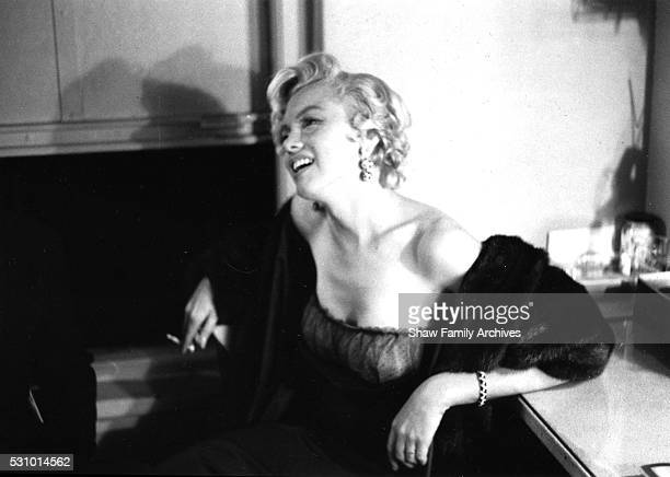 Marilyn Monroe backstage at a Broadway Theater in 1954 in New York New York