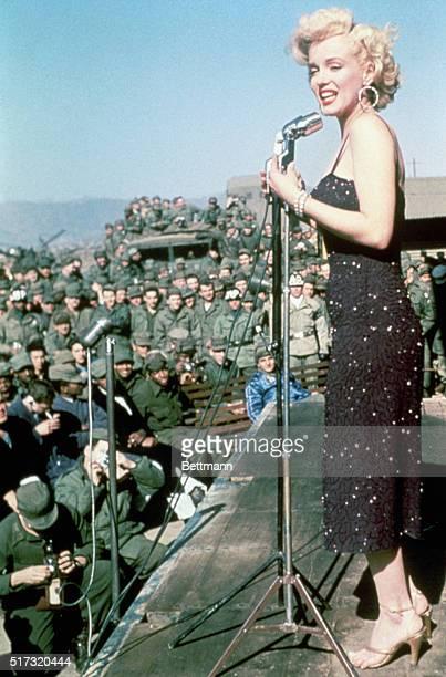 Marilyn Monroe entertains American troops in Korea 1954