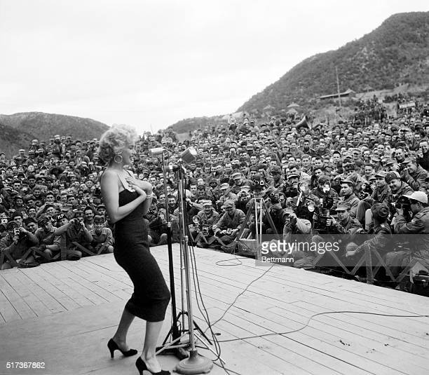 Marilyn Monroe entertains Marines in Ch'unch'on South Korea