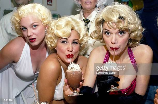 Marilyn Monroe fans appear at a lookalike contest and seance at the restaurant Serendipity August 2 2002 in New York City August 5 is the 40th...