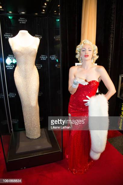 Marilyn Monroe Impersonator Rachel Farrow attends the Unveiling of Marilyn Monroe's Iconic 1962 'Happy Birthday Mr President' Dress at Ripley's...