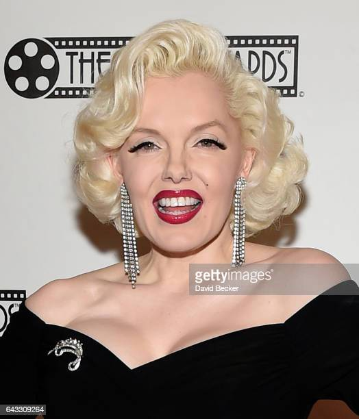 Marilyn Monroe impersonator Suzie Kennedy of the United Kingdom attends The Reel Awards 2017 at the Golden Nugget Hotel Casino on February 20 2017 in...
