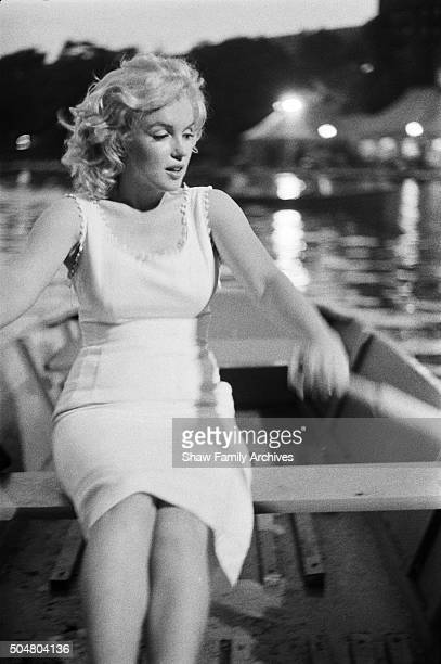 Marilyn Monroe in a rowboat in Central Park in 1957 in New York, New York.