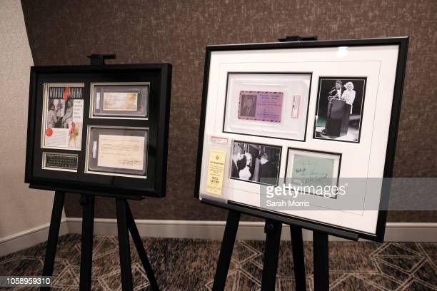 Marilyn Monroe memorabilia is seen at the Iconic Hollywood Music Memorabilia Auction media preview at Universal Hilton Hotel on October 24 2018 in...