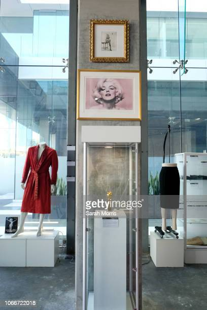 Marilyn Monroe memorabilia seen on display at Icons Idols Hollywood Street Contemporary Art Auction preview with Julien's Auctions at The Standard...