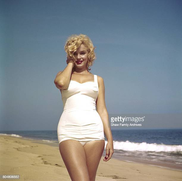 Marilyn Monroe on the beach in 1957 in Amagansett New York
