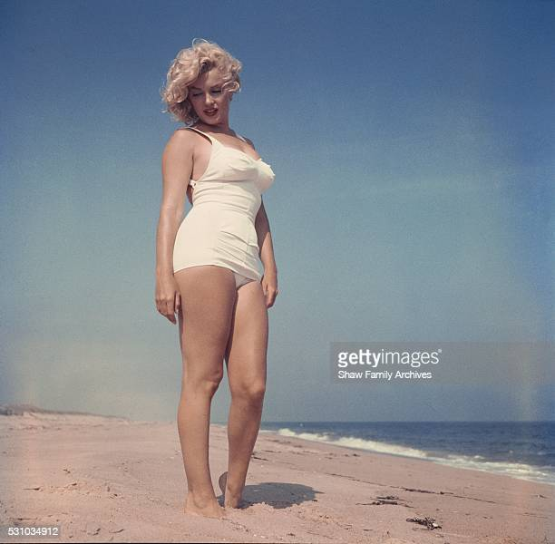 Marilyn Monroe on the beach in 1957 in Amagansett, New York.