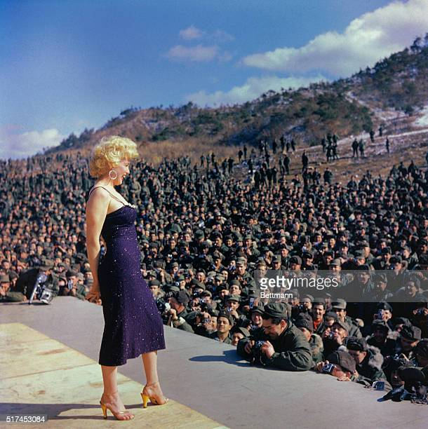 Marilyn Monroe performs for American troops in Korea in February 1954.