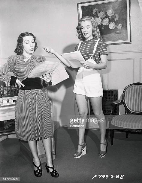 Marilyn Monroe Rehearsing Script with Coach Helena Sorell