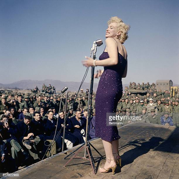 Marilyn Monroe sings to US Marines stationed in Korea after the Korean War