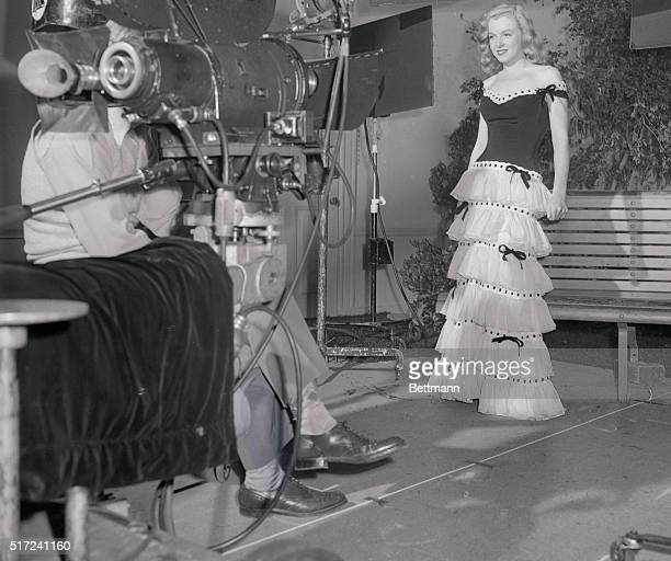 Marilyn Monroe undergoing a screen test in a puffy skirt, early in her career, when she was making Scudda Hoo! Scudda Hay!
