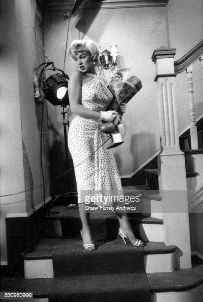 Marilyn Monroe wearing a polkadot dress ascends a staircase holding a bag of groceries and a desk fan in her arms in 1954 during the filming of 'The...