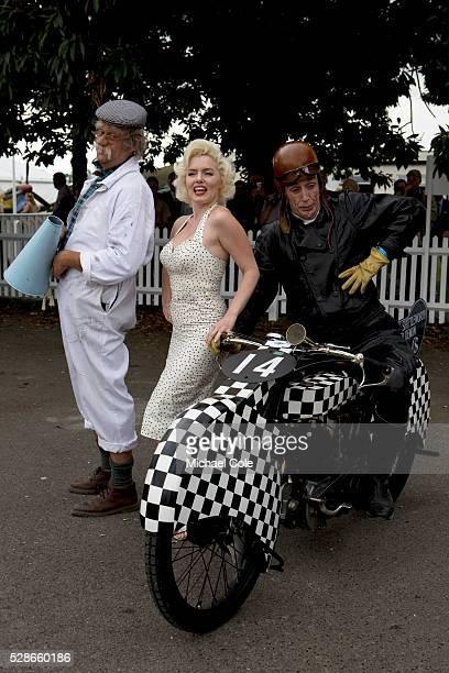 Marilyn Monroe with George Formby lookalike/impersonator on motorbike & Co.
