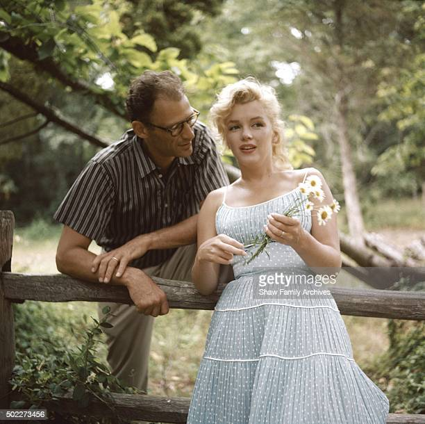 Marilyn Monroe with her husband playwright Arthur Miller in 1957 in Amagansett New York