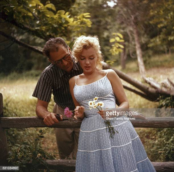 Marilyn Monroe with her husband the playwright Arthur Miller in 1957 in Amagansett New York