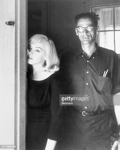 Marilyn Monroe with husband Arthur Miller rehersing between scenes of The Misfits