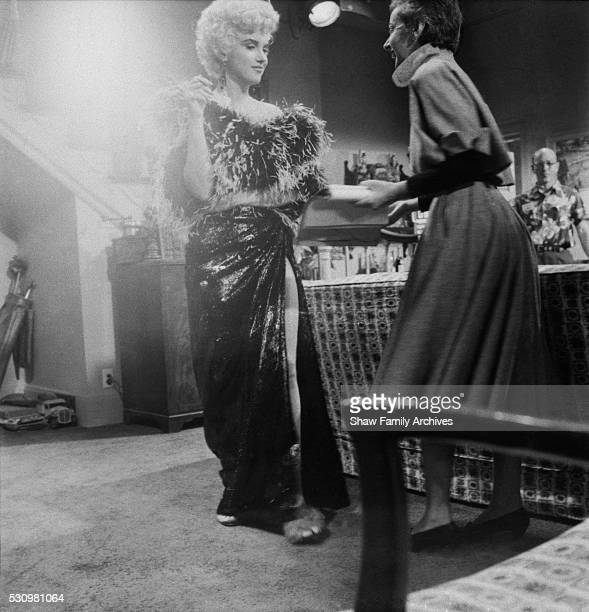 Marilyn Monroe works on a scene with Columbia Pictures drama coach Natasha Lytess in 1954 during the filming of 'The Seven Year Itch' in Los Angeles...