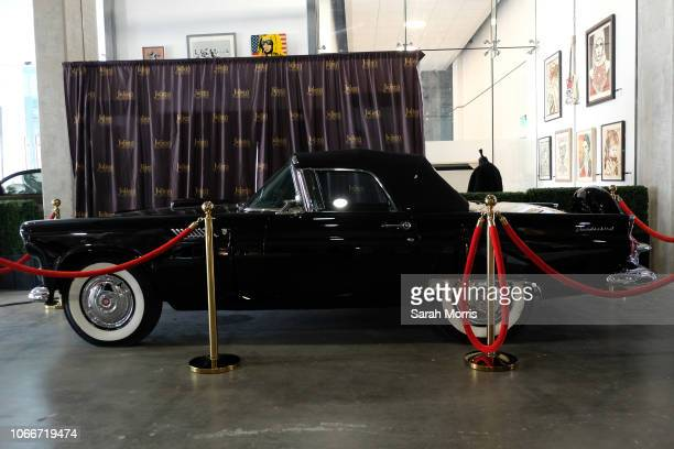 Marilyn Monroe's Ford Thunderbird is seen on display at Icons Idols Hollywood Street Contemporary Art Auction preview with Julien's Auctions at The...