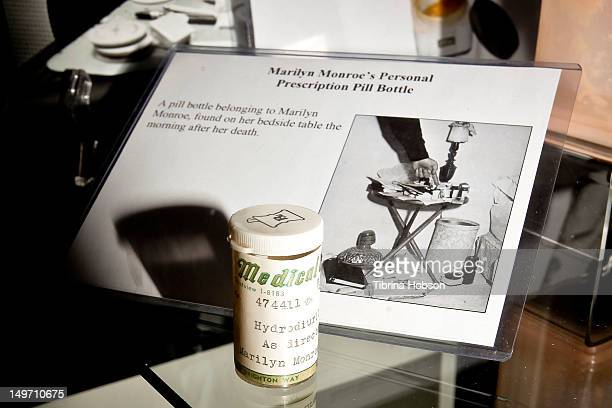 Marilyn Monroe's prescription pill bottle found on her bedside table the morning after her death on display at the Marilyn Monroe 50th Anniversary...