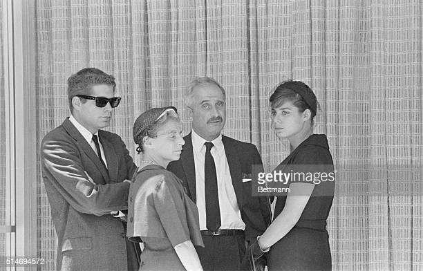 Marilyn Monroe's psychiatrist Dr Greenson with his wife and children at Monroe's funeral in 1962