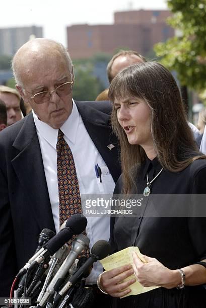 Marilyn Walker mother of American Taliban John Walker Lindh speaks to the media as lead defense attorney James Brosnahan listens 15 July 2002 outside...