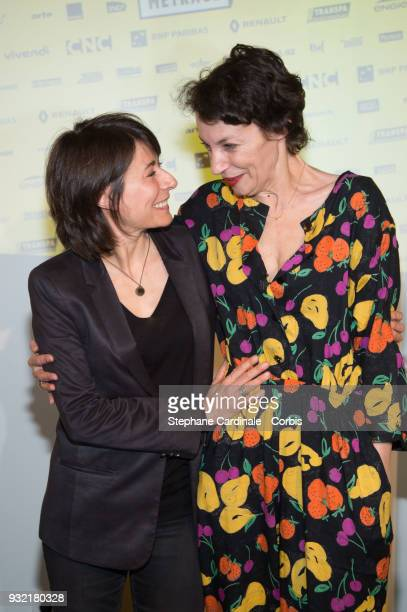 Marilyne Canto and Jeanne Balibar attend the La Fete Du Court Metrage on March 14 2018 in Paris France
