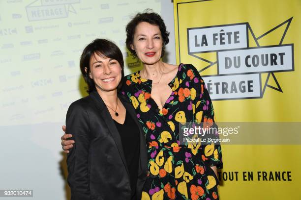 Marilyne Canto and Jeanne Balibar pose at La Fete Du Cour Metrage Photocall on March 14 2018 in Paris France
