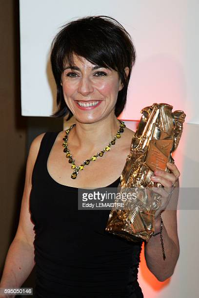 Marilyne Canto with her Cesar award for Best Short Film in the press room