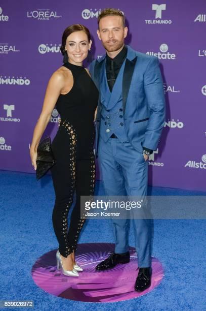 Marimar Vega and Luis Ernesto Franco arrive at Telemundo's 2017 'Premios Tu Mundo' at American Airlines Arena on August 24 2017 in Miami Florida