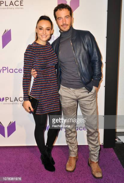 Marimar Vega and Ryan Carnes attend the launch of Egoless Social Sharing App StoryPlace at Monk Space on December 06 2018 in Los Angeles California